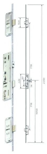 Lockmaster Latch, 3 Deadbolt, 45mm Backset, Unsprung Multipoint Door Lock Mechanism