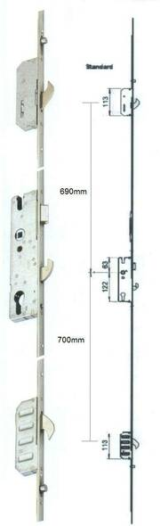 Winkhaus Scorpion UPVC Door Lock, 3 Hook, 2 Roller, Lift Lever or Split Spindle, 35mm backset