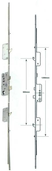 Roto Multipoint, 2 Hooks, 2 Rollers, Multipoint UPVC Door Lock, 35mm Backset