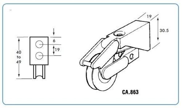 CA865 Patio Door Roller Wheels