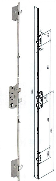 Fuhr 856 Type 3 Multipoint, 2 Hooks and 2 Rollers, UPVC Door Lock