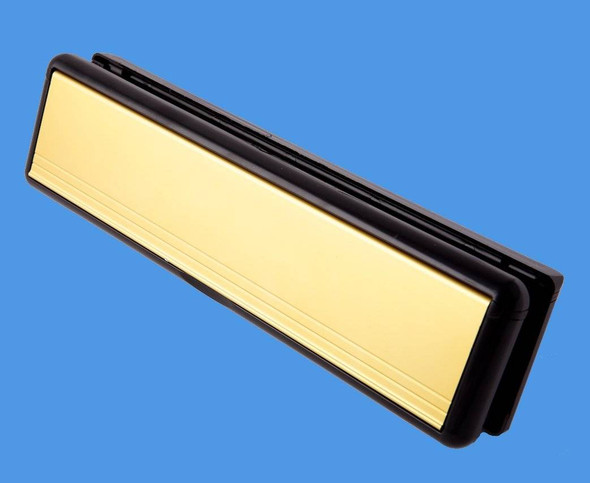 12 GOLD Letterbox with BLACK Surround, for UPVC Doors