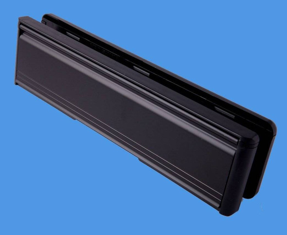 12 BLACK Letterbox with BLACK surround, for UPVC doors