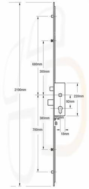 AGB Multipoint, 4 Rollers, 45mm Backset