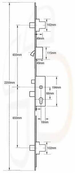 Fullex SL16 Original Multipoint 3 Deadbolts and 1 Hook, 35mm Backset, Flat 16mm Faceplate