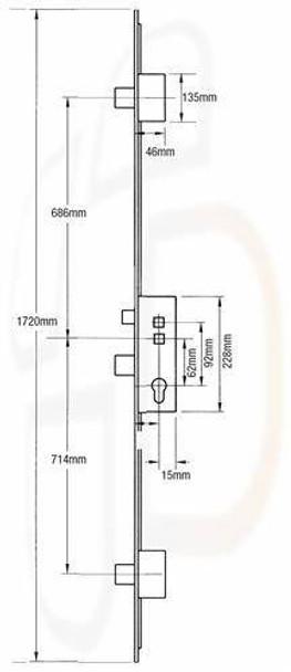 Fullex Crimebeater Multipoint 3 Deadbolts, 45mm Backset, Flat 20mm ROUND END Faceplate