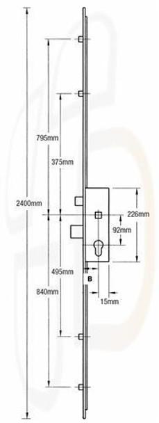 Maco Multipoint, 4 Rollers, Lift Lever L/L, 28mm Backset