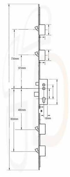 Maco Multipoint, 4 Hooks, Lift Lever L/L, 35mm Backset