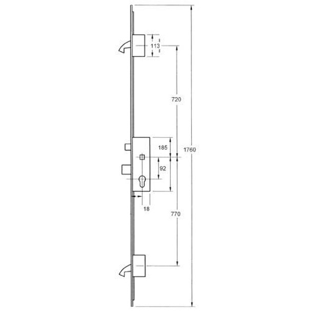 Winkhaus French Door Multipoint, 2 Hooks, Shootbolt Connections, 35mm Backset