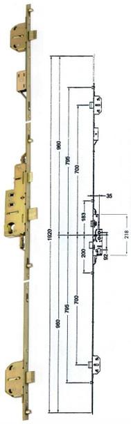 Avocet / WMS 3 Deadbolt, 4 Roller, Multipoint Locking Mechanism
