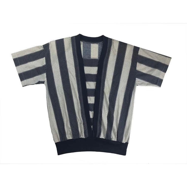 Vintage Stripe and Spot Wide Elastic Hem Shirt