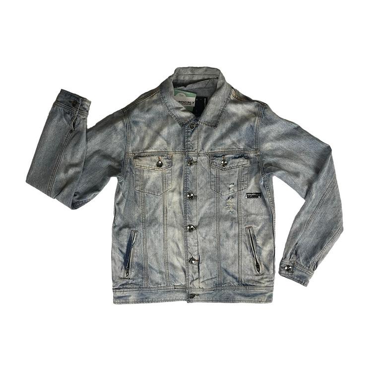 ST GOLIATH Light Wash Distressed Denim Jacket