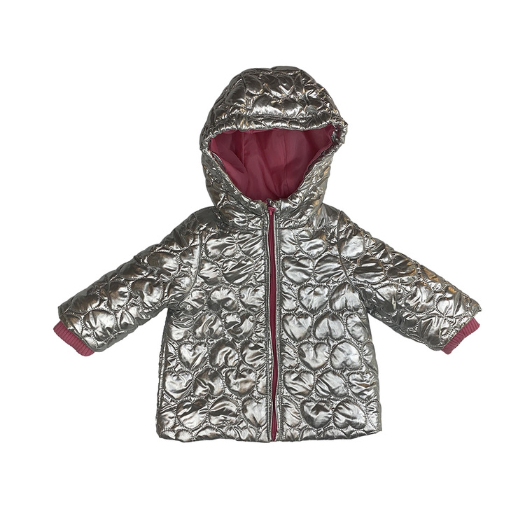 GIRLS Heart Embossed Metallic Silver Puffer Jacket