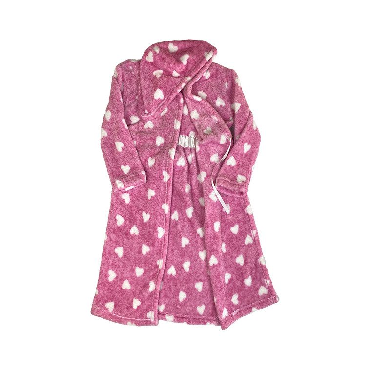 GIRLS Pink Heart Hooded Dressing Gown
