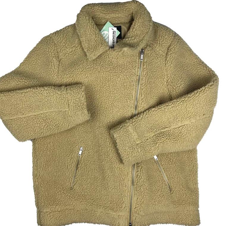 Asymmetrical Zipper Teddy Coat