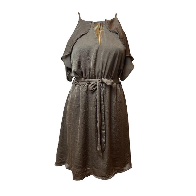 Khaki Woven Dress Solid