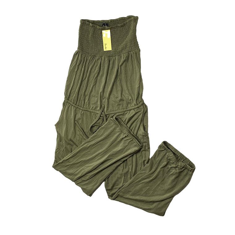 Khaki Shirred Jumpsuit