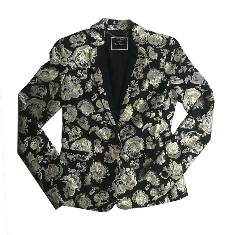 Metallic Foil Brocade Blazer