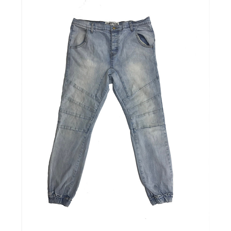 Button Fly Light Wash Jogger Jeans 34x27