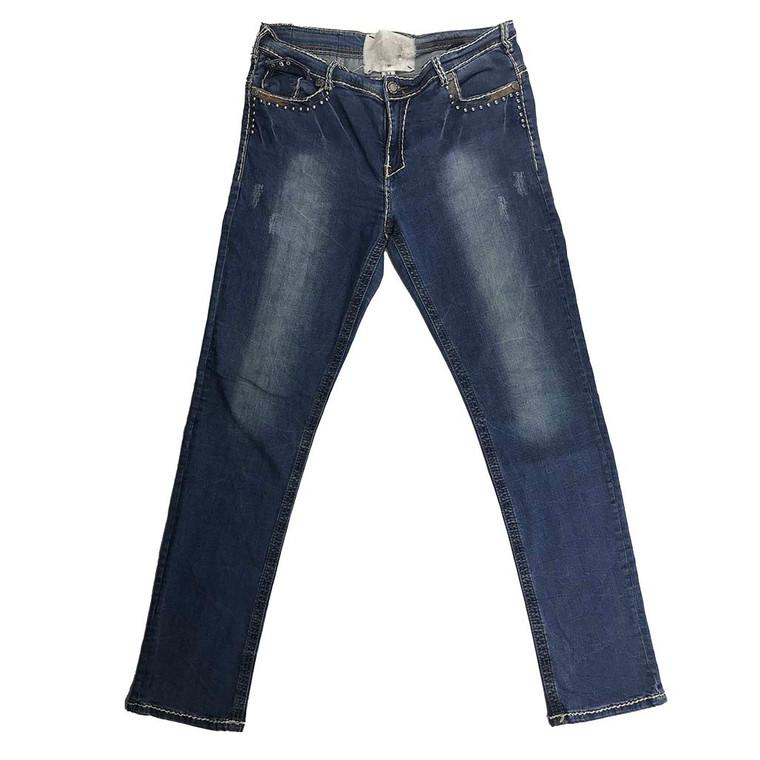 Distressed Straight Leg Denim Jeans 34x32