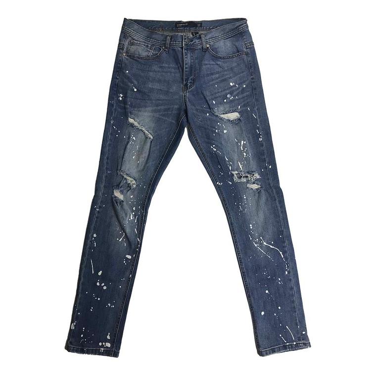 Paint Splatter Distressed Skinny Straight Denim Jeans 32x32