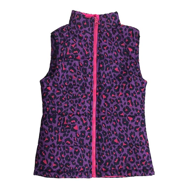 GIRLS Bright Animal Printed Zip-up Vest