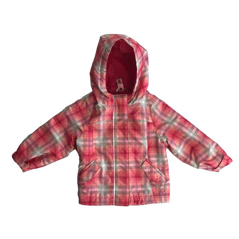 GIRLS Checkered Zip-up Hooded Raincoat