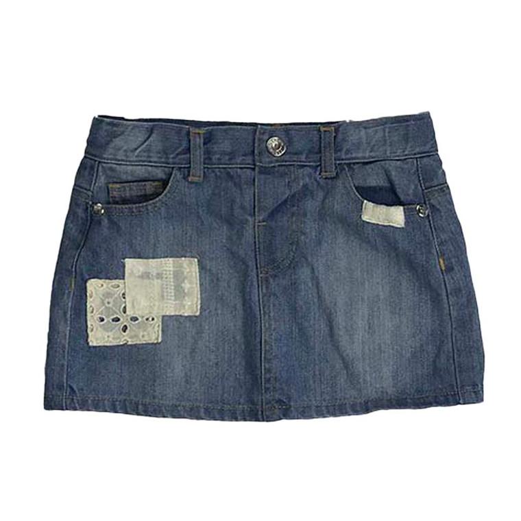 GIRLS Lace Patch Denim Mini Skirt