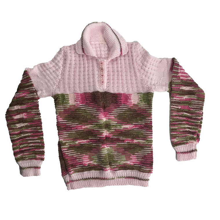 GIRLS Hand Knitted Button-up Pullover