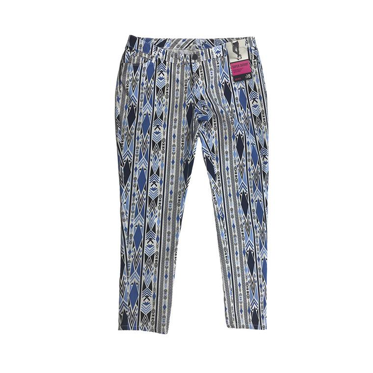 Super Skinny Mid Rise Aztec Print Pant