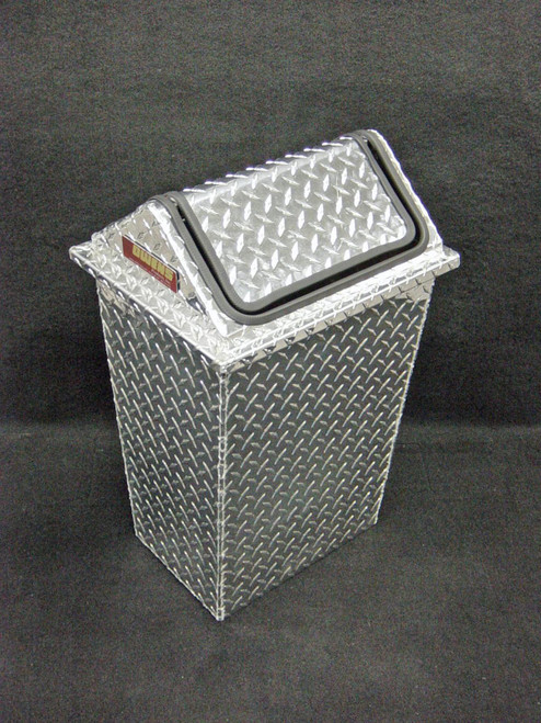 Owens Products RaceMates Large Trash Can Waste Receptacle with Swinging Lid / Diamond Tread Aluminum / Owens Products  39148