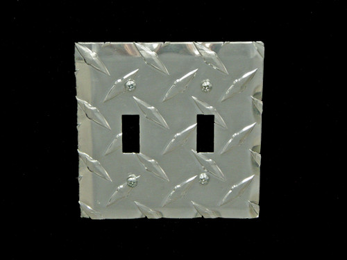 Owens Products RaceMates Double Light Switch Wall Plate Cover / Each / Diamond Tread Aluminum / Owens Products  39137