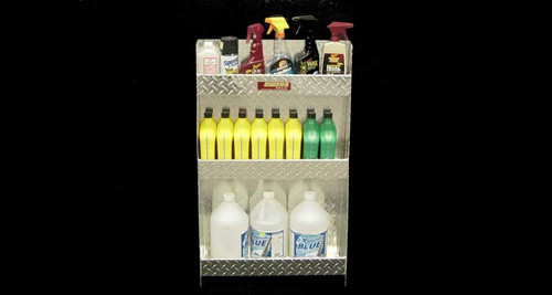 Owens Products RaceMates 3-Tier Storage Shelf Rack / Aerosol Quart Gallon Size / Diamond Tread Aluminum / Owens Products  39205