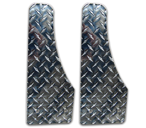 Owens Products Stone Guards for Running Boards / Moon Cut / Diamond Tread Aluminum / Bright / Pair / Owens Products  C8000SG