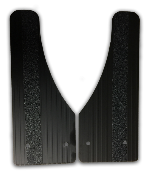 Owens Products Stone Guards for Running Boards / Moon Cut / Extruded Aluminum / Black / Pair / Owens Products  C7000SGB