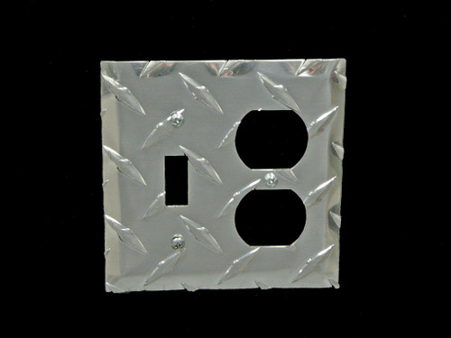 Owens Products RaceMates Dual Light Switch/Electrical Outlet Wall Plate Cover / Each / Diamond Tread Aluminum / Owens Products  39141