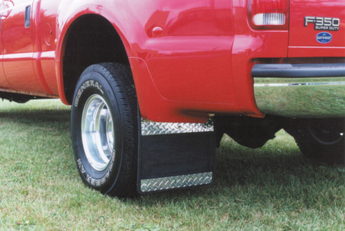 Owens Products Mud Flaps Classic Dually Rubber Mudflaps / Diamond Tread Aluminum Inserts / 99-10 Ford F350 / 19 x 24 / Owens Products  86RF105D