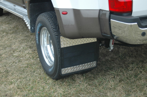 Owens Products Mud Flaps Classic Dually Rubber Mudflaps / Diamond Tread Aluminum Inserts / 17-18 Ford F350 / 19 x 24 / Owens Products  86001