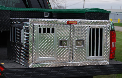 Owens Products Dog Box Hunter Series Double Compartment / Shallow / 38 W x 36 D x 20 H / Standard Vents / Diamond Tread Aluminum / Owens Products  55085
