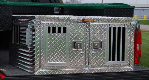 Owens Products Dog Box Hunter Series Double Compartment / Shallow / 48 W x 36 D x 20 H / Standard Vents / Diamond Tread Aluminum / Owens Products  55077