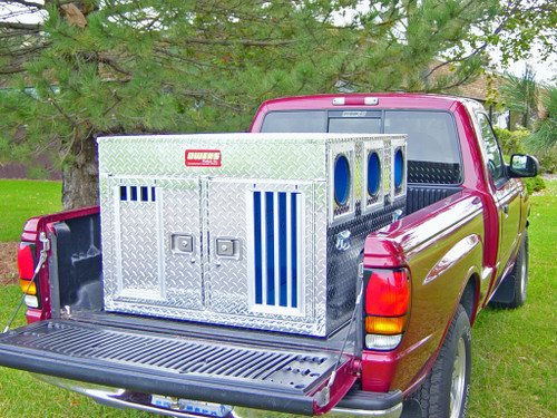 Owens Products Dog Box Hunter Series Double Compartment / Bear/Cat / 38 W x 45 D x 27 H / Striker Holes / Diamond Tread Aluminum / Owens Products  55061