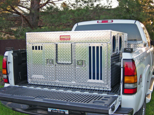 Owens Products Dog Box Hunter Series Double Compartment / Bear/Cat / 48 W x 45 D x 27 H / Striker Holes / Diamond Tread Aluminum / Owens Products  55060