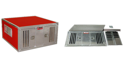 Owens Products Dog Box DIY Series Double Compartment / 38 W x 48 D x 25 H / Standard Vents / Diamond Tread Aluminum Parts / Owens Products  55048