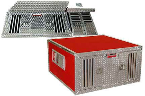 Owens Products Dog Box DIY Series Double Compartment / 46 W x 48 D x 25 H / Standard Vents / Diamond Tread Aluminum Parts / Owens Products  55046