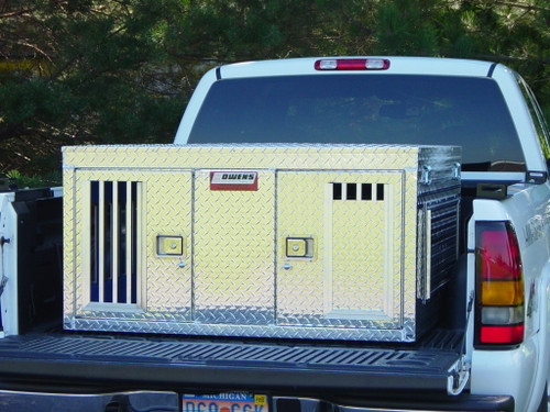 Owens Products Dog Box Hunter Series Double Compartment / Tall / 48 W x 45 D x 25 H / All Seasons Vents / Diamond Tread Aluminum / Owens Products  55038