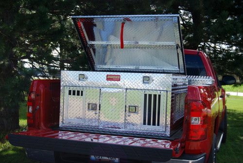 Owens Products Dog Box Hunter Series Double Compartment with Top Storage / 48 W x 45 D x 26 H / All Seasons Vents / Diamond Tread Aluminum / Owens Products  55012