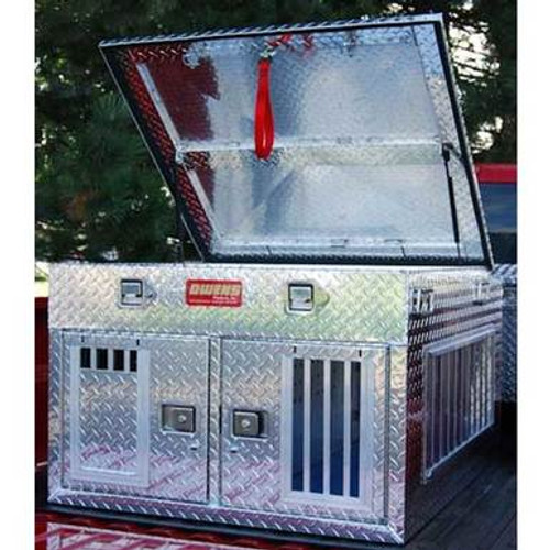 Owens Products Dog Box Hunter Series Double Compartment with Top Storage / 38 W x 45 D x 26 H / All Seasons Vents / Diamond Tread Aluminum / Owens Products  55011