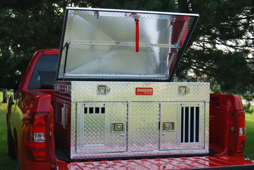 Owens Products Dog Box Hunter Series Double Compartment with Top Storage / 48 W x 45 D x 26 H / Standard Vents / Diamond Tread Aluminum / Owens Products  55006