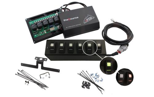 sPOD JK Switch Panel 6 Switch Dual 07-08 Wrangler JK Green 600-07LT-LED-G