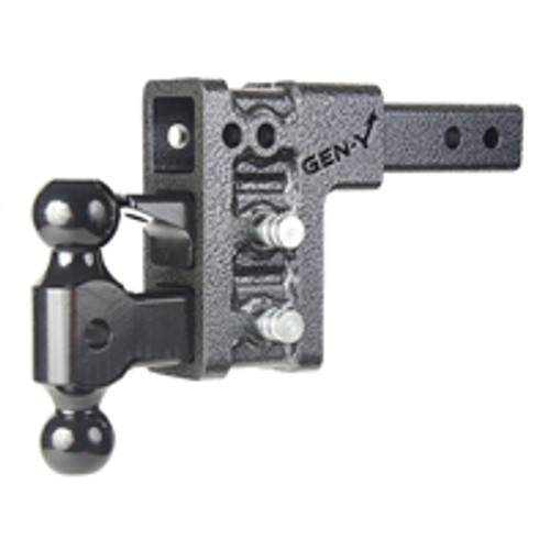 "Adjustable 15"" Drop Hitch GH-327, 2"" Shank 10,000lb. Towing, 15"" Drop Hitch, Dual ball Pintle & 2-pins"